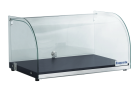 Exquisite CD25 One Tier Curved Glass Ambient Cake Display - Woodgrain Black