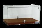Exquisite CD35 One Tier Flat Glass Ambient Cake Display - Elegant Walnut
