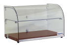 Exquisite CD45 Two Tiers Curved Glass Ambient Cake Display - Elegant Walnut